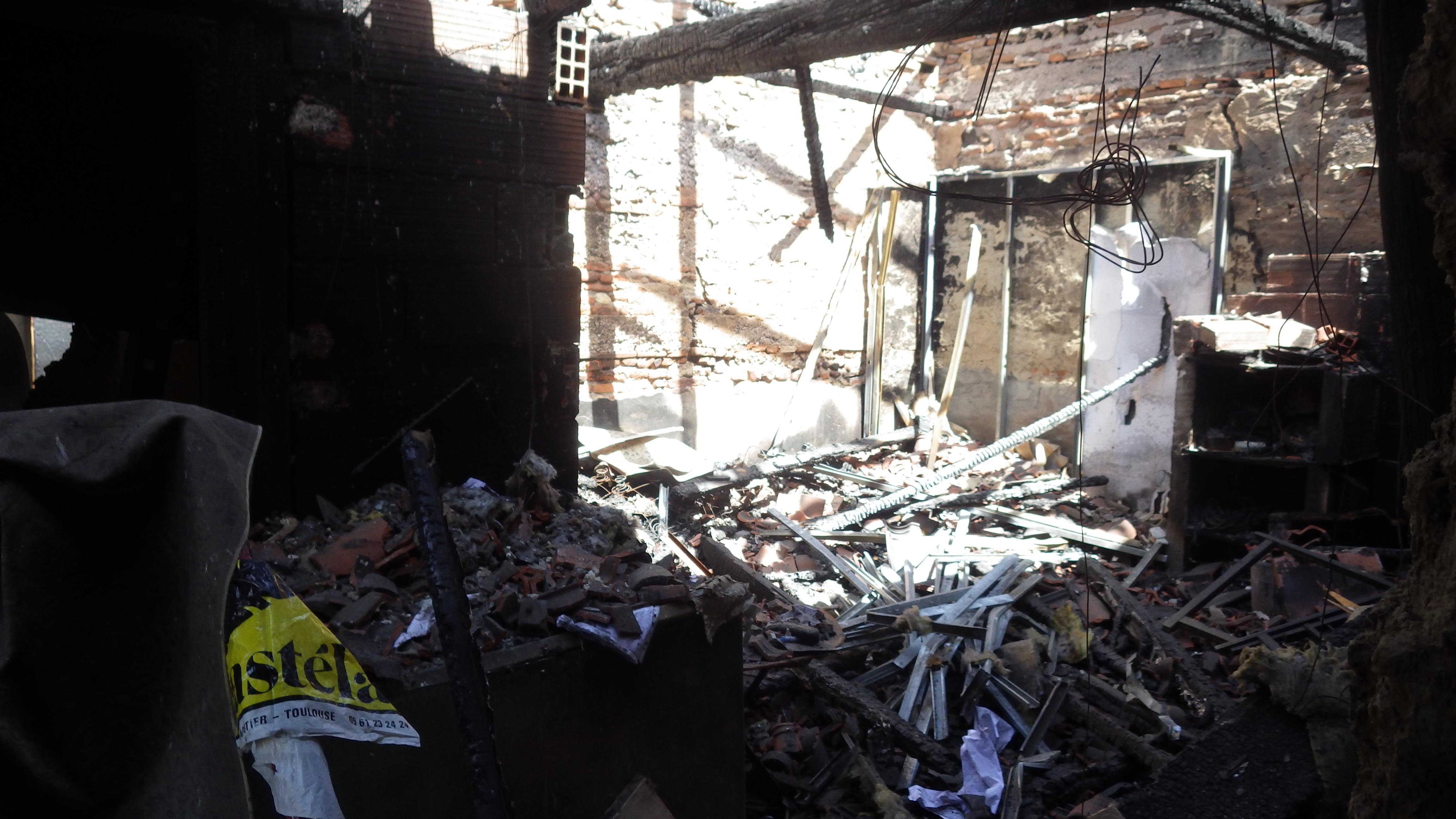 déblayage suite à un incendie